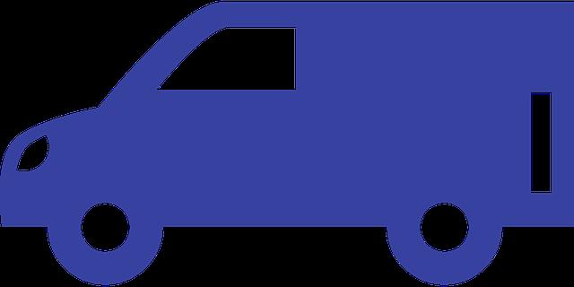 modrá nákres dodávky